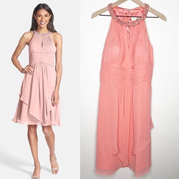 Eliza J Pink Chiffon Layered Keyhole Beaded Dress